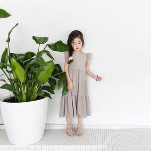 Image 4 - New 2020 Flying Sleeve Kids Summer Dress for Girls Dress Toddler Midi Dress Mesh Patchwork Baby Princess Dress Cotton Lace,#3933
