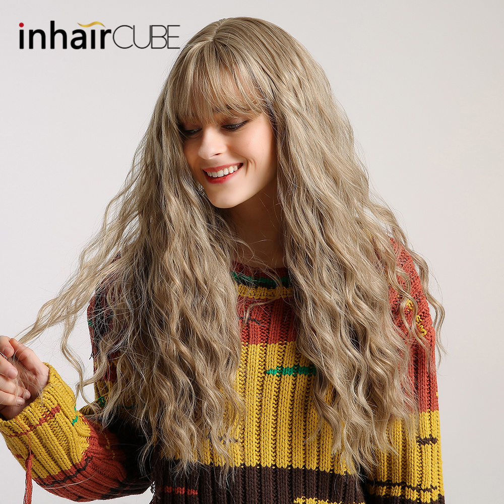 "Image 4 - Inhair Cube 26"" Women's Wig Light Blonde Synthetic Hair Long Curly Wig Heat Resistant Weave  Wigs For Women Use and Cosplay-in Synthetic None-Lace  Wigs from Hair Extensions & Wigs"
