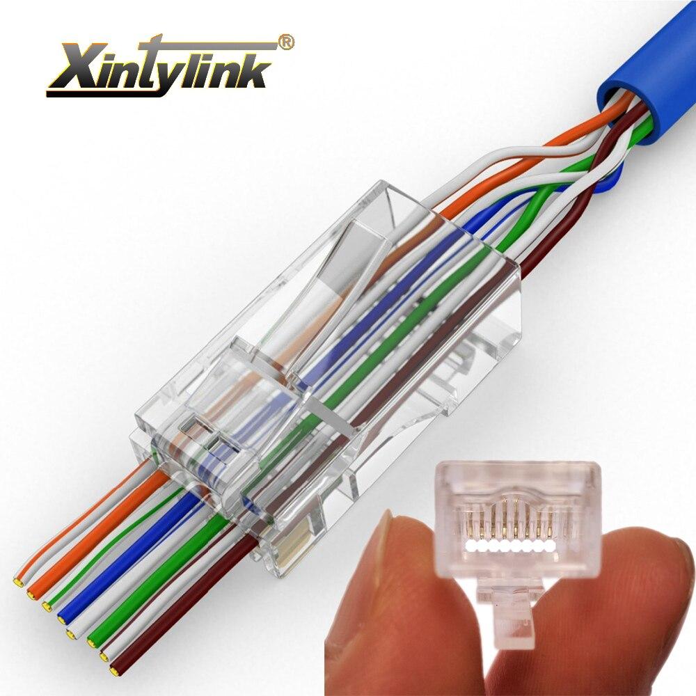 Xintylink EZ Rj45 Connector Cat6 Ethernet Cable Rg45 Plug Cat5e Utp 8P8C Network Unshielded Modular Rg Rj 45 Cat5 Jack 50/100pcs