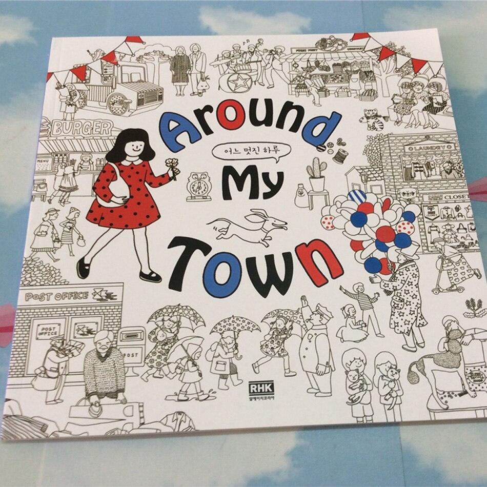 66 halaman sekitar saya kota taman rahasia buku mewarnai untuk orang dewasa buku Anak anak menghilangkan stres grafiti lukisan buku gambar di Buku dari