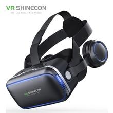 VR shinecon SC-G04 из искусственной кожи 3D картонный шлем виртуальной реальности VR очки гарнитура стерео коробка для 4-6 'мобильного телефона