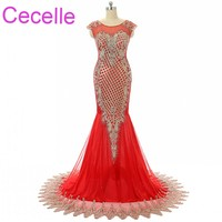 Red Gold Mermaid Long Prom Dresses 2018 Jewel Neck Arabic Women Formal Evening Party Dress Elegant Sparkly Prom Gowns Online