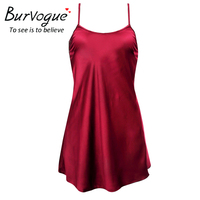 Burvogue Sexy Silk Satin Night Dress Sleeveless Nighties Nightgown One Piece Nightdress Lace Sleepwear Nightwear For