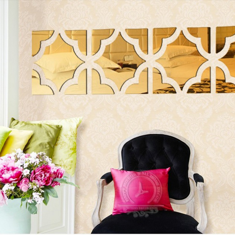 4 Squares / Set Big Size 3D Acrylic Mirror Surface Wall Sticker Gold ...