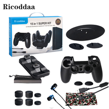 For PS4 Pro Multi-Function Controller Charger Dock Holder+USB Charging Cable Controller Case+Earphone+Thumbgrips For PS4 Slim(China)