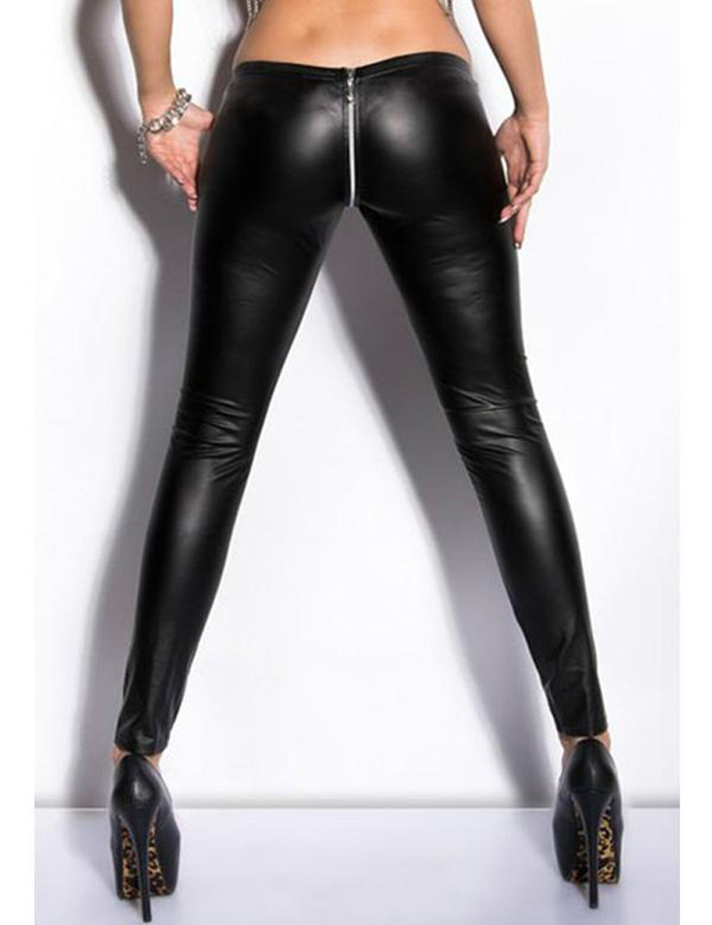 74b7bc9589f Nieuwigheid Rits Open Kruis Leggings Vrouwen Sexy Black Punk Broek  Elastische Taille Faux Lederen Broek DS Dansen Clubwear in Nieuwigheid Rits Open  Kruis ...