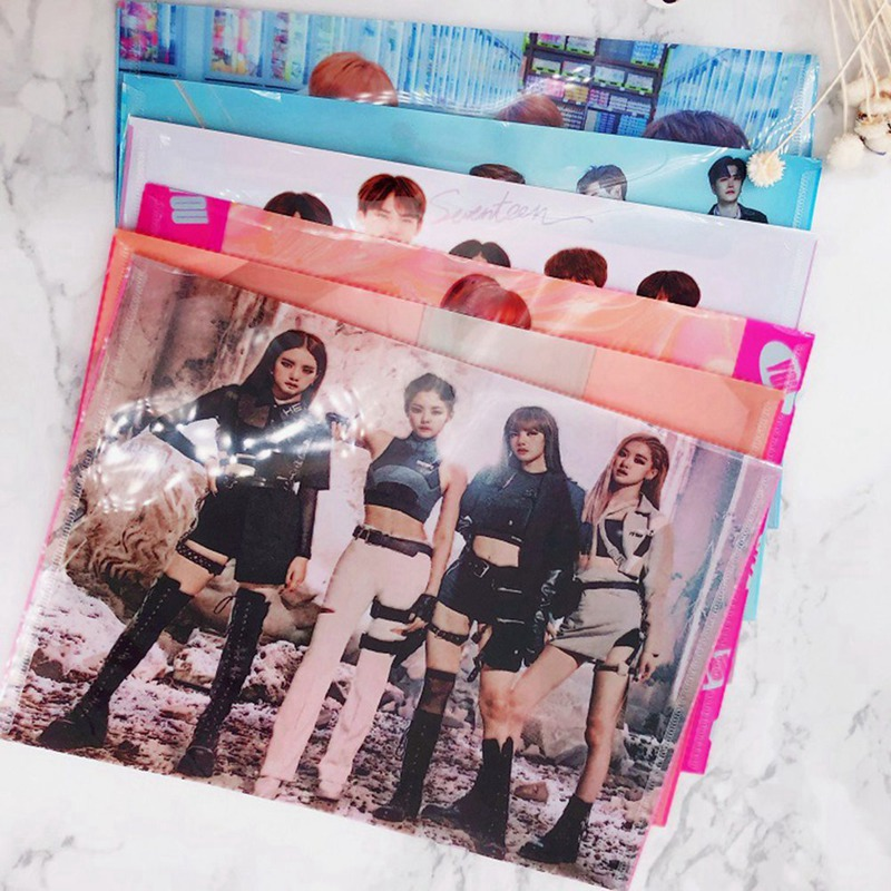 BLACKPINK GOT7 TWICE PVC Stationery File Bag A4 Document File Folder Filing Production Pocket School Office