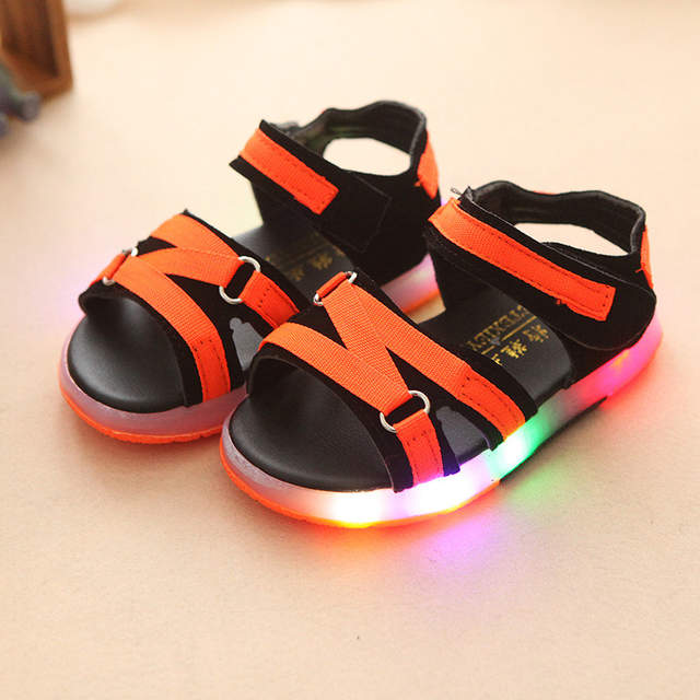 placeholder 2018 Candy color Lovely children sandals LED lighted Pu girls  boys shoes soft footwear glitter cute f42eea67a10f