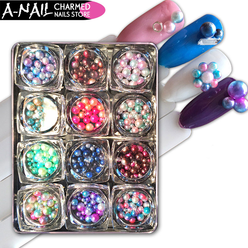 12Jars/set Mix Size Magic Design Mermaid Pearl Beads Gradient Charming 3D Nails Tips Nail Art Decoration Manicure Tools 12 jars set colorful mini nail caviar glass rhinestones 12 colors micro beads balls manicure tools diy 3d nail art decoration