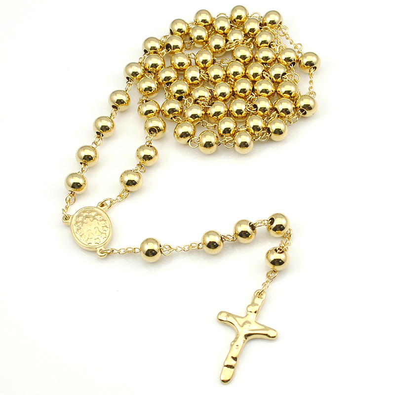Detail Feedback Questions about 8mm Rosary Necklace Beads 316L Stainless  steel Necklace Cross Jesus Piece Gold Silver Black Rose Gold Wholesale  Rosary HN082 ... 08e16e67d