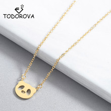 Todorova Cute Animal Jewelry Cartoon Mini Kawaii Panda Face Charm Pendant Necklace for Women Kids Collares Dropshipping cute panda rhinestoned pendant necklace for women