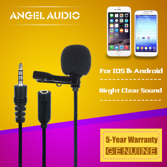US $8 26 5% OFF Free Shipping Mobile Phone Cellphone Lavalier Tie Clip On  Recording Microphone For iPhone 6s 5s 4s 4 5 6 s Plus SAMSUNG Android-in
