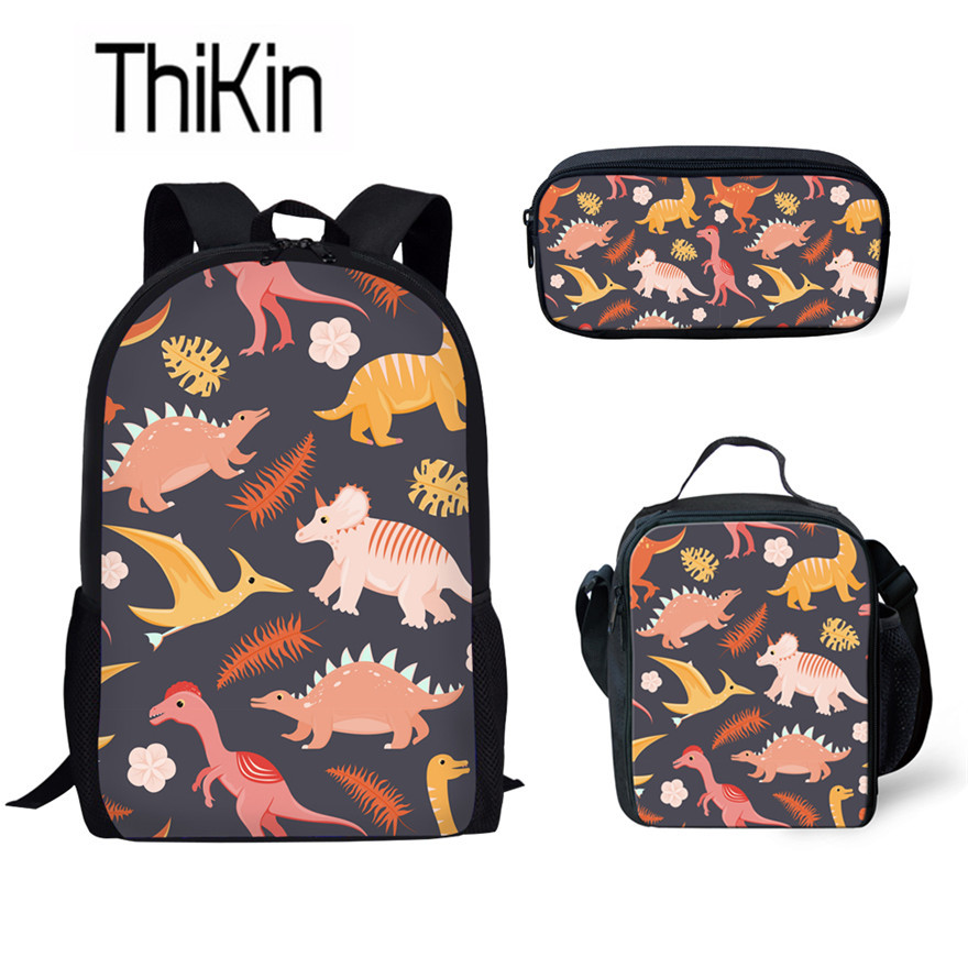 THIKIN Boys Cool School Bags For Kids Tyrannosaurus Rex Schoolbag Children 3pcs/set Dino Printed School Backpack Animal Rucksack