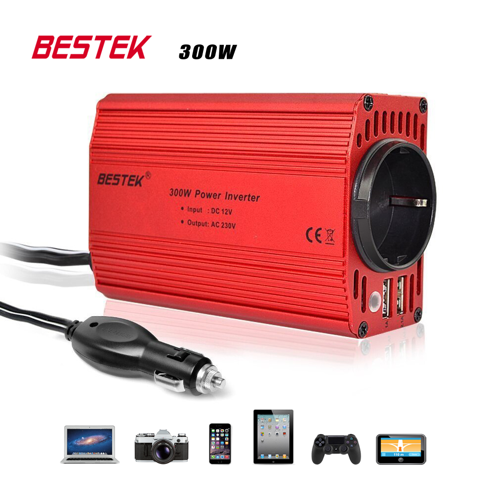 bestek 300w car inverter 12v 220v 50hz eu outlet. Black Bedroom Furniture Sets. Home Design Ideas