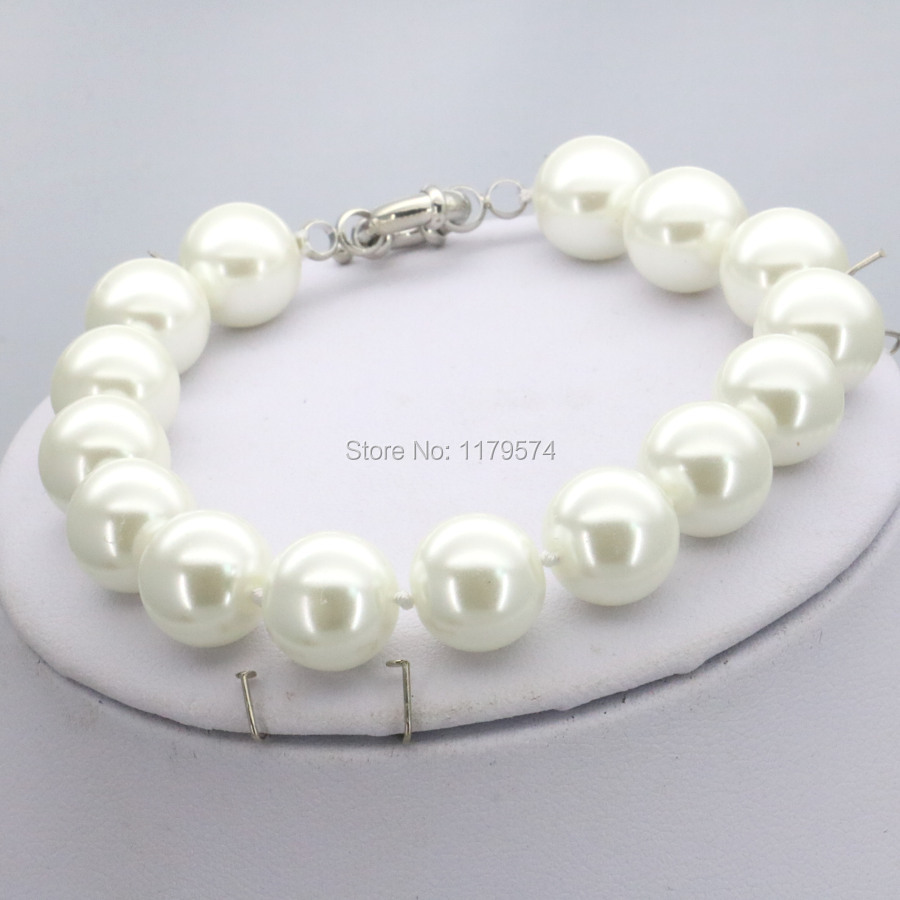 Accessories Christmas Gifts Women Girls 10mm White Glass Round Pearl Beads Bracelet Jewelry Making Design