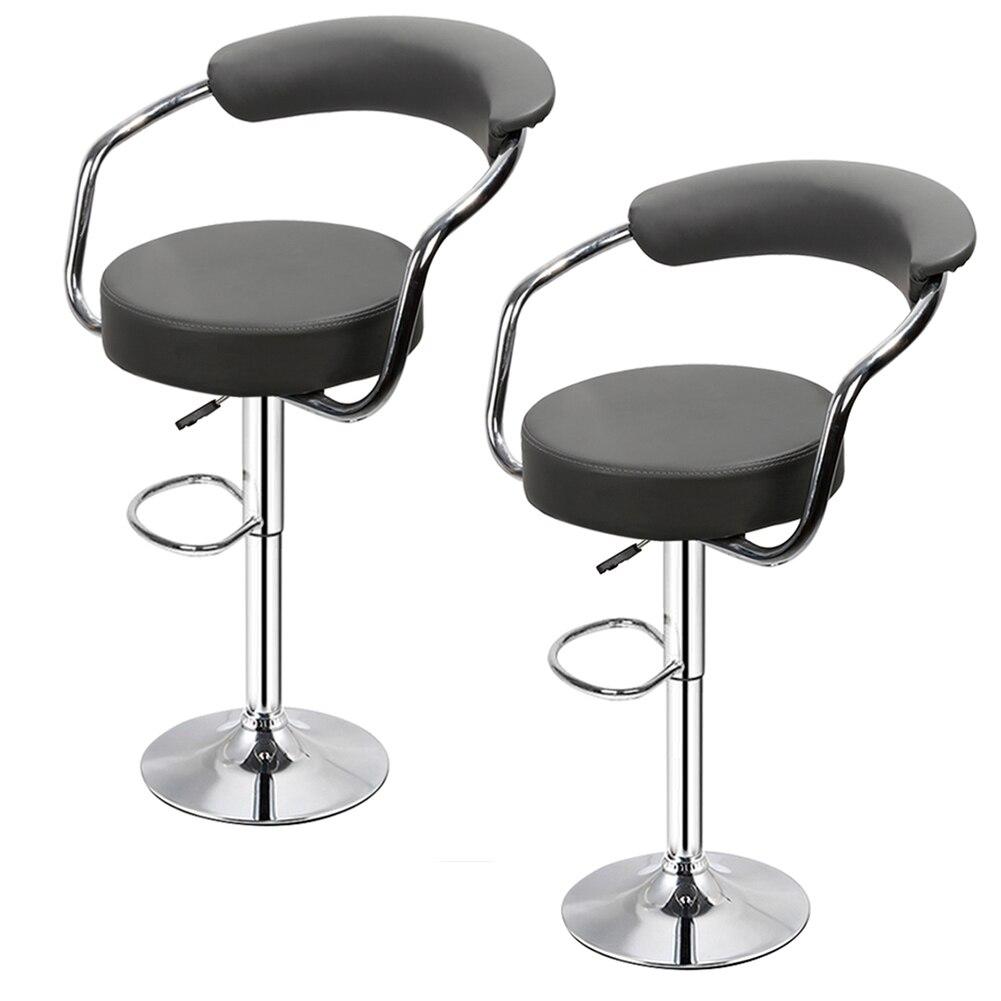 2PCS Fashion Stylish Bar Chair Lifting High Stool Swivel Barstool Chair Soft PU Leather Bar Dinning Chair For Home Kitchen HWC