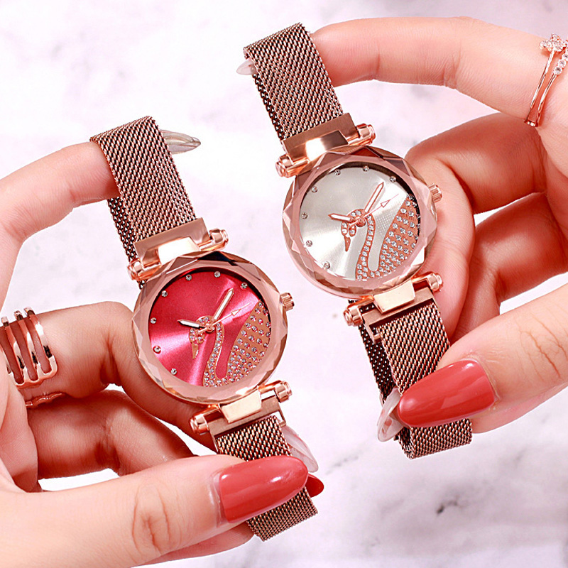 Luxury Bracelet Women Watches Rose Gold Magnetic Blue Watch Fashion Diamond Ladies Crystal Quartz Clock Gift Relogio Feminino in Women 39 s Watches from Watches