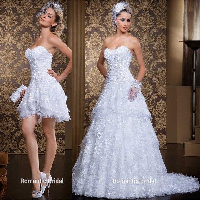 c3314b485 Vestido de novia 2017 Elegante Encaje Blanco 2 En 1 Desmontable Tren  Apliques Robe De Mariage