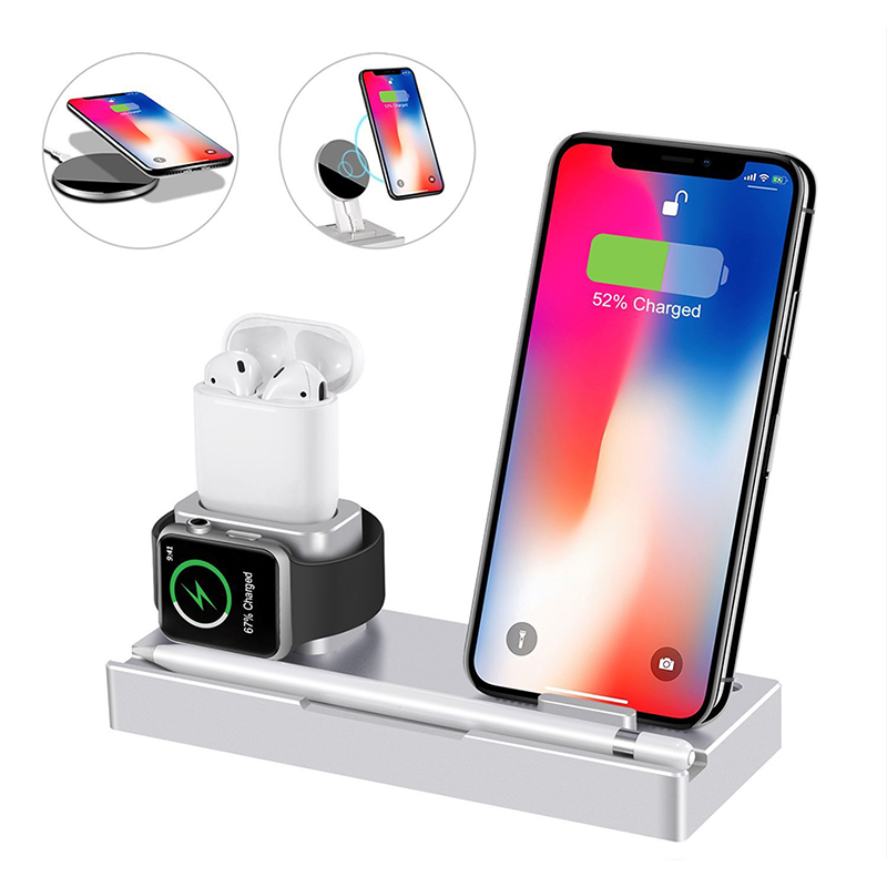 3 In 1 Aluminum Stand Charger Dock For Apple Watch Airpods Iphone Ipad Apple Pencil QI Wireless Charger For Iphone X Samsung S8