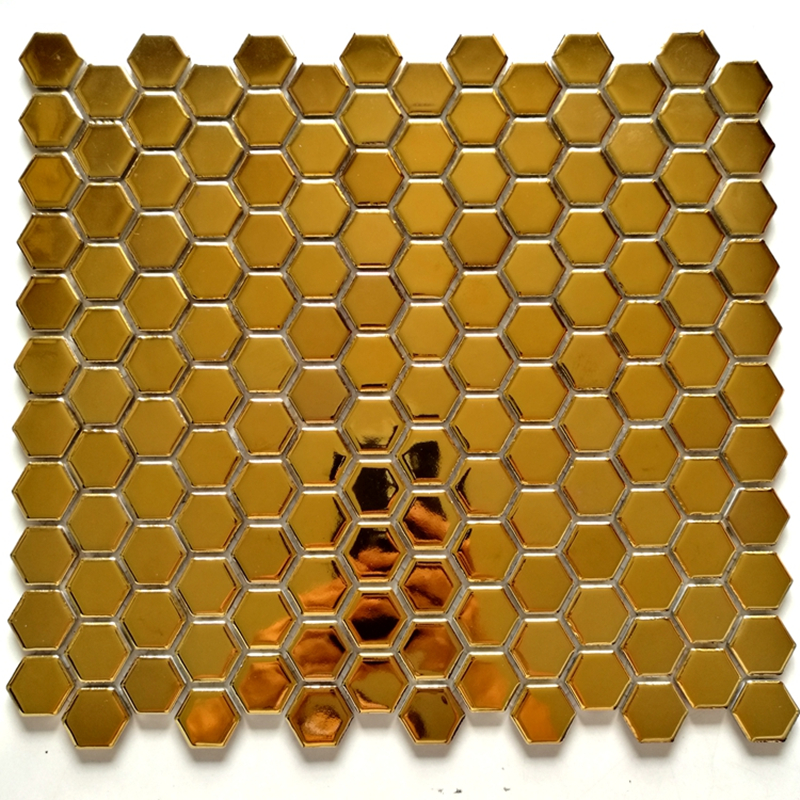26mm hexagon glossy matt surface gold porcelain ceramic mosaic tile kitchen backsplash swimming pool bathroom wall floor tile