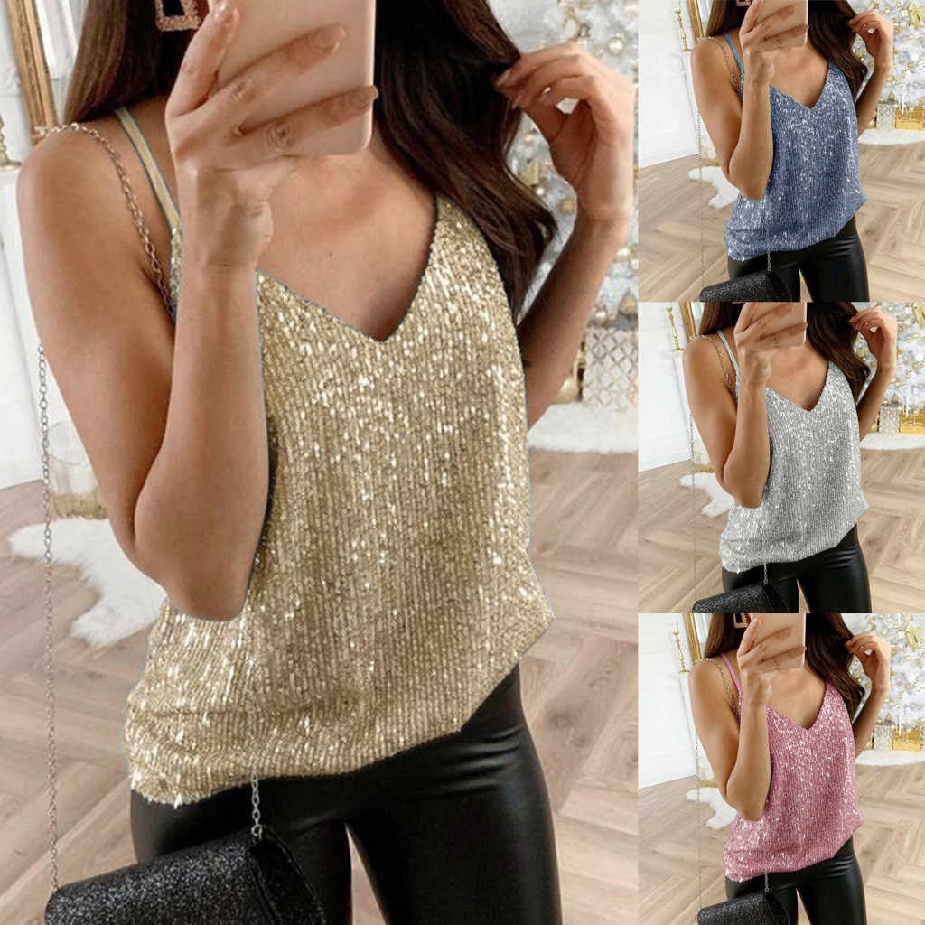 Women Sexy Tops Glitter Strappy Sequined Tank Tops Party Clubwear Vintage Gothic Sparkle Cami Modis Swing Vest Poleras Mujer#sw