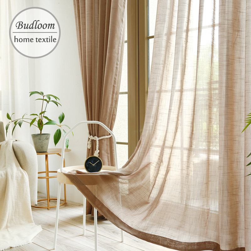 Simple Modern Style White Grey Brown Voile Curtain For Bedroom Soft Linen Cotton-like High Quality Tulle Curtain For Living Room