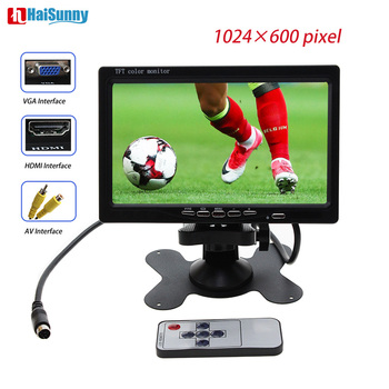HaiSunny 7 Inch 1024x600 TFT Color LCD Car Video Parking Monitor With HDMI VGA AV Input CCTV Security Monitor Remote Control