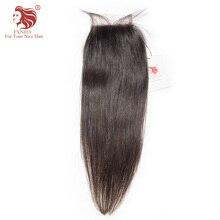 "[FYNHA] Brazilian Virgin Hair Lace Closure Straight 100% Human Hair Free Part 4""x 4"" Free Shipping"