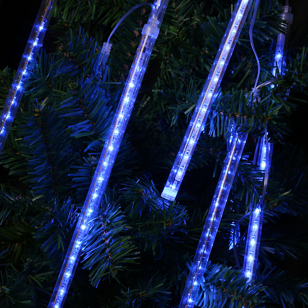 Finether LED Light Meteor Shower Rain Snowfall Plug-In String Lights For Holiday Christmas Halloween Party Lighting Decoration