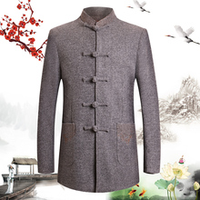 Man Tweed Tunic Blazer Mandarin Collar Wool Blend Jacket Suit Male Gray Black Pocket Embroidery Blazers Men Chinese Style