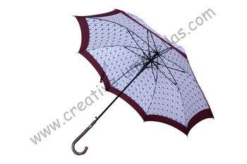 (3pcs/lot)Straight rattan umbrellas,210T pongee  printed stars design,auto open,70T alloy shaft for cane parasol,rattan handle