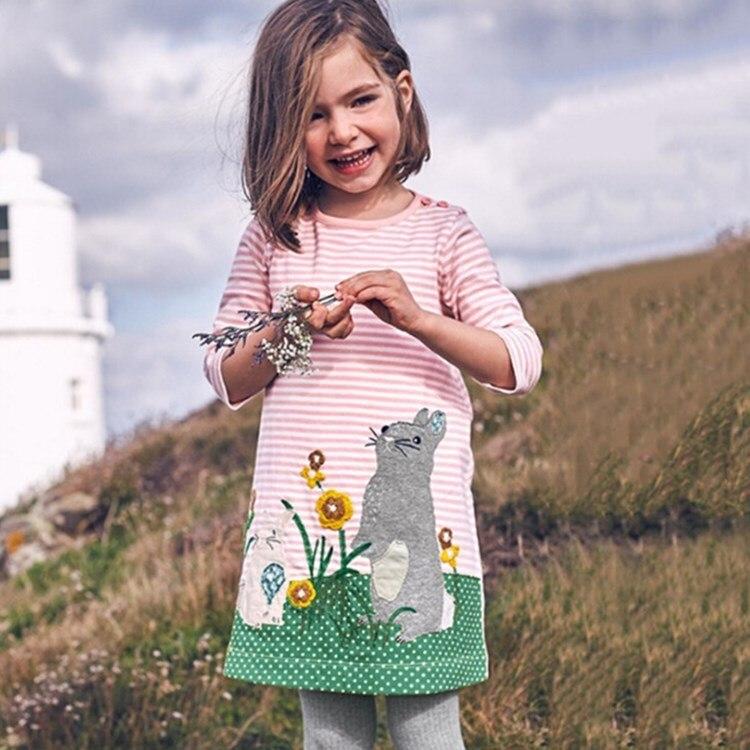 Humor Magie Kaulquappe 100% Baumwolle Bunny Weihnachten Kleid Mädchen Kleid Langarm Pferd Katze Hund Ente Dinosaurier Tier Baby Mädchen Kleidung