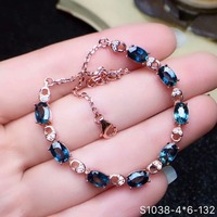 shilovem 925 silver sterling real Natural sapphire Bracelets fine Jewelry trendy Christmas gift new plant 4*6mm cl0406099agl