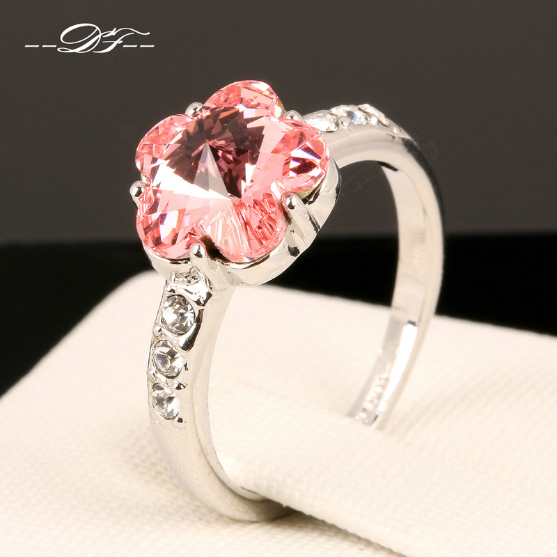 Hot Sale Shiny Rose Pink Crystal Flower Finger Rings Silver Color Fashion Brand Jewelry For Women Wholesale DFR136