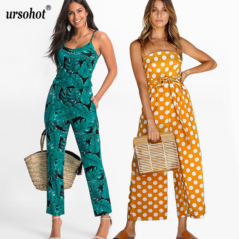 Ursohot Strap Floral Printed   Jumpsuit   Women Casual Beach Party Yellow Rompers 2018 Summer Sexy Off Shoulder Sash Overalls