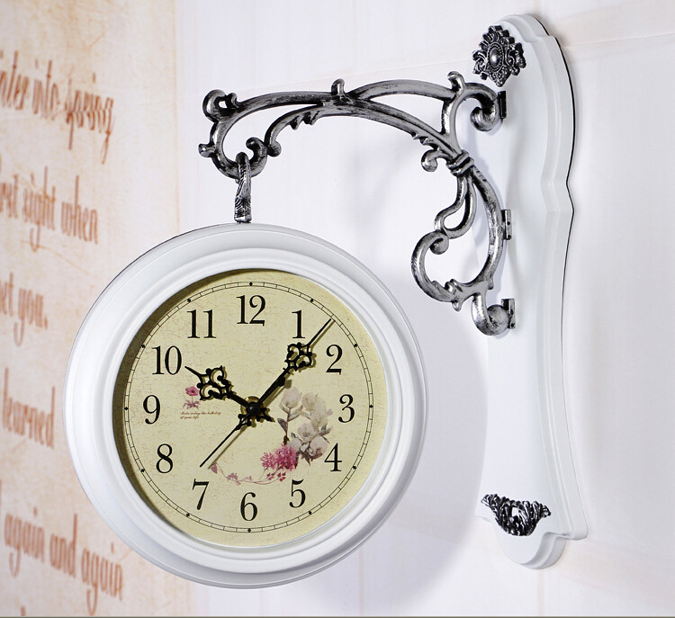 European Fashionable Sitting Room Double Wall Clock, Creative Decorative Quartz Clocks And Watches, Home Crafts