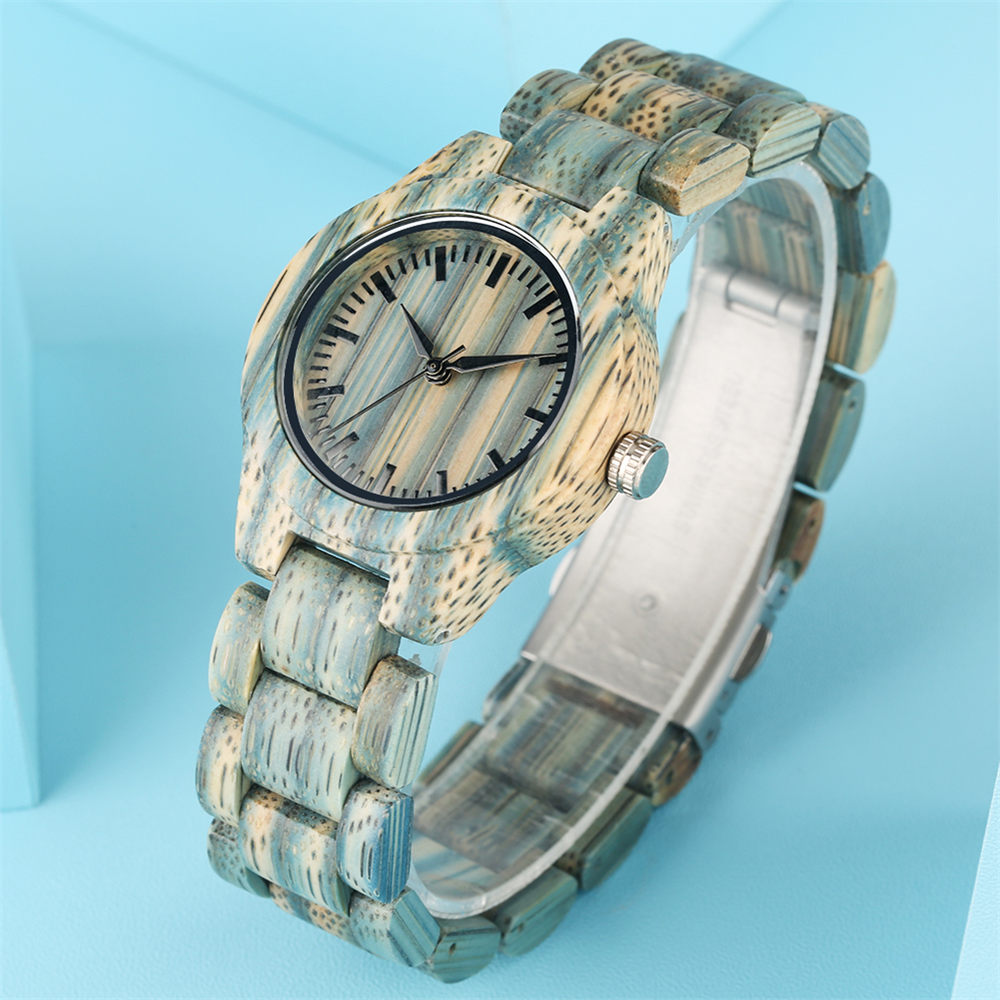 Clock Female Wrist-Watches Wooden Green Timepieces Quartz Simple Reloj-Mujer