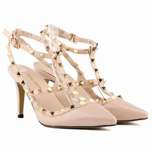 brand design Europe sexy pointed women's high heels 2016 female rivet T strape sandals shoes