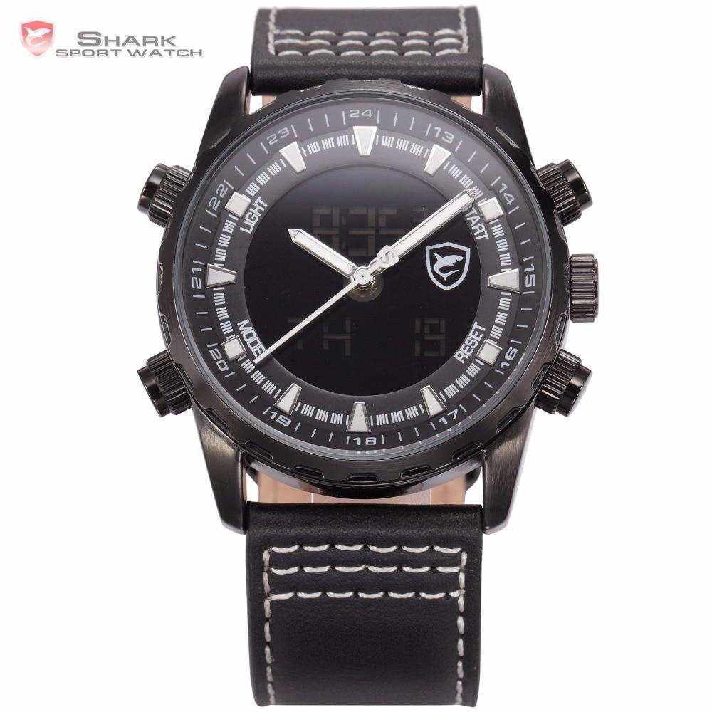 Bull Shark Sport Watch Series Black Leather Band LCD Stopwatch Digital Calendar Analog Quartz Men Military Smart Watches /SH132 bag khs075vg1ba g83 38 29 lcd calendar