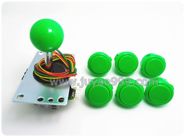 1 set of 1 pcs of JLF-TP-8YT with 6 pcs of  OBSF-30 Sanwa push button for arcade game machine, multi color for choosing