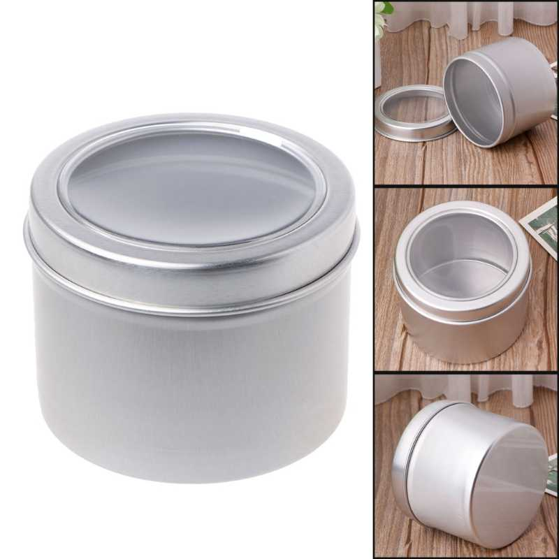 25/60ml Round Clear Window Tins Stage Spices Case Aluminum Container Box Can
