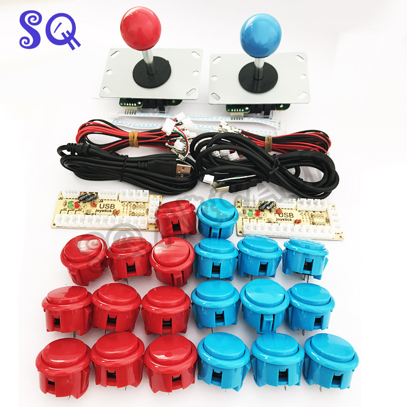 Blue and red copy sanwa obsf 30 push buttons/ joystick PC MAME DIY Kit for Mame Jamma with Zero Delay Arcade Game USB Encoder