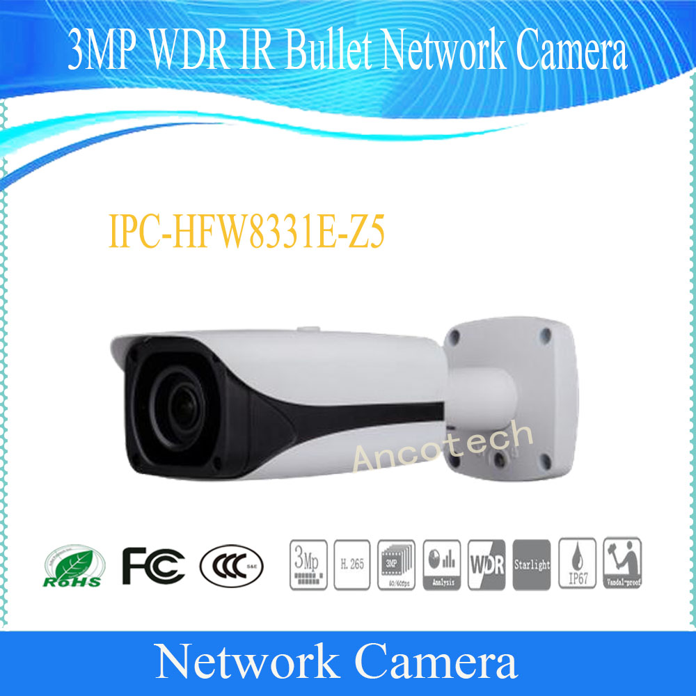 Free Shipping DAHUA CCTV Security IP Camera 3MP WDR IR Bullet Network Camera IP67 IK10 With POE without Logo IPC-HFW8331E-Z5 free shipping dahua cctv security ip camera 3mp wdr ir bullet network camera ip67 ik10 with poe without logo ipc hfw8331e z5