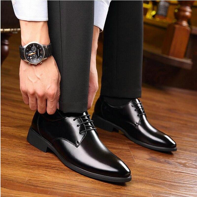 2019 Neue Marke Business Männer Grundlegende Flache Schuhe Leder Kleid Formale Schuhe Männlichen Schwarz Oxfords Hochzeit Party Schuhe Ld-91 Einfach Zu Verwenden