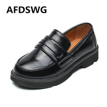 AFDSWG black girls leather shoes waterproof thick soles wild children moccasins princess for boys