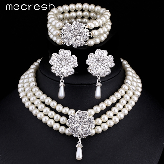 Mecresh 3pcs set Perfect Round Imitated Pearl Wedding Accessories Statement  Bracelet Earrings Necklace Bridal Jewelry 1bd9866051fd