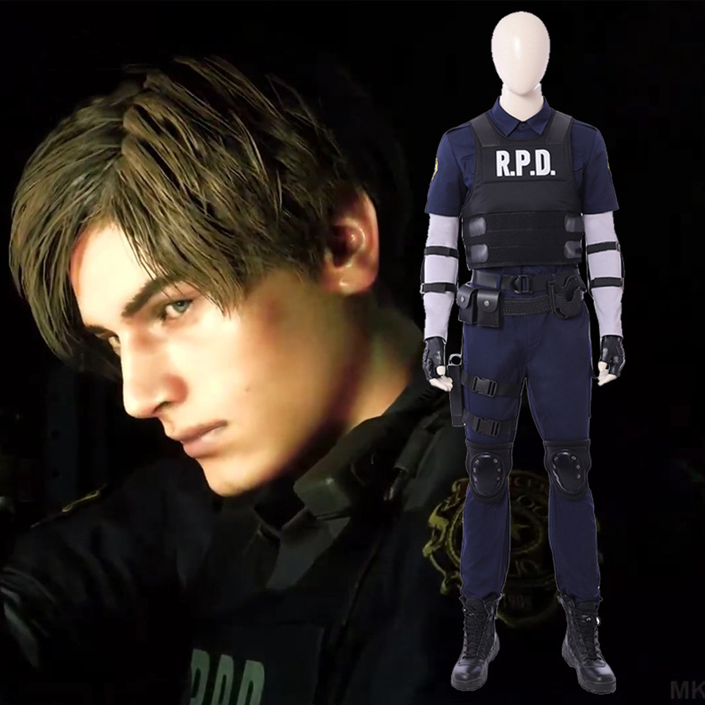 Halloween Resident Evil 2 Cosplay Leon Scott Kenne cosplay costume for men vest pants set high quality custom made size