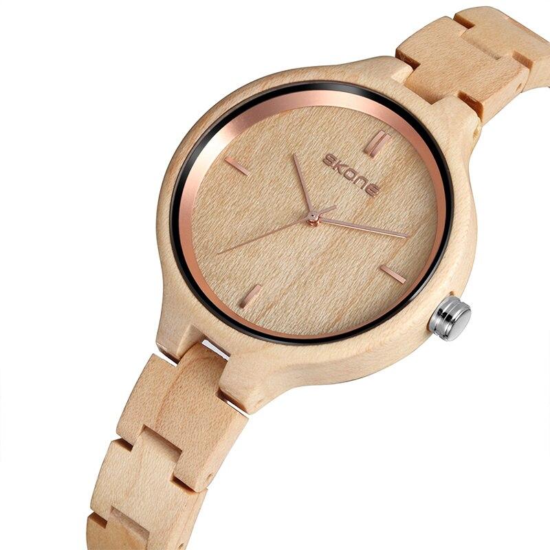 Skone Orologi di Legno delle Donne Top Del Progettista di Marca Orologio Al Quarzo Delle Signore Vestito Orologio In Legno Ecologico reloj mujer