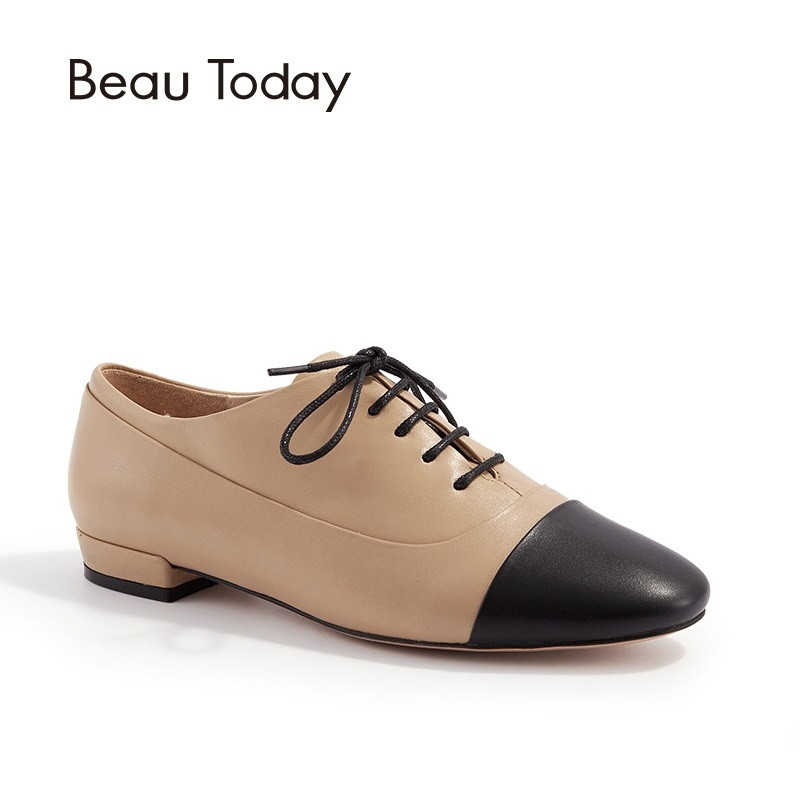 BeauToday Genuine Leather Oxfords Flats Women Lace-Up Round Toe Color Blocking Cow Leather Shoes with Box 21066 qmn women distressed brushed cow suede brogue shoes women round toe lace up oxfords shoes woman genuine leather flats