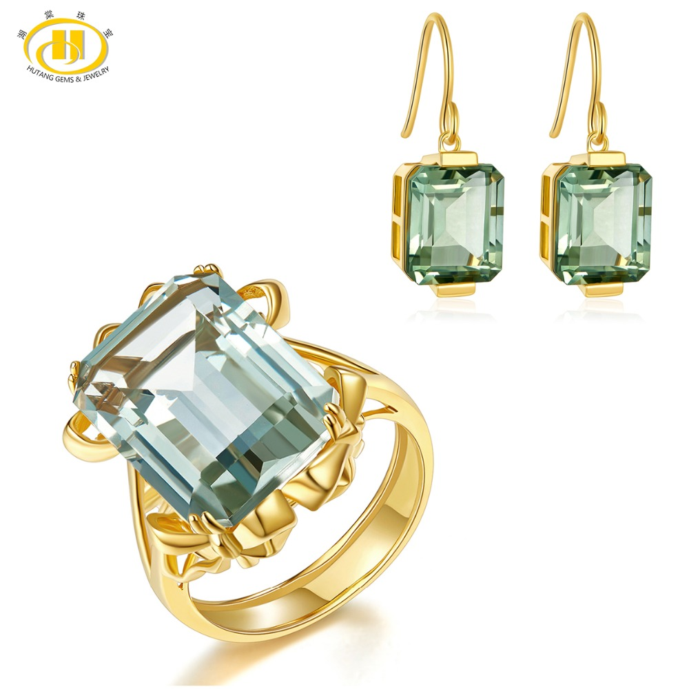 Hutang Ring & Earrings Natural Gemstone Green Amethyst Solid 925 Sterling Silver Yellow Gold Fine Bridal Jewelry Sets For Gift jewlery sets vintage solid 14k white gold green amethyst diamond earrings for women fine amethyst jewelry